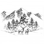 Two Jays Stamps - Deer Mountain Scene