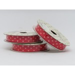 Grosgrain - Hearts White on Red
