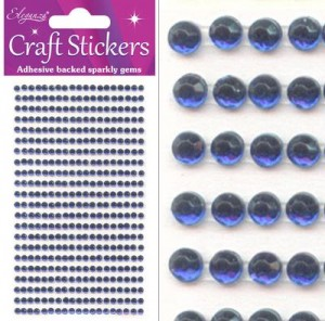 Eleganza Self-Adhesive Sparkly Gems Sapphire Blue 3mm